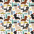 Dachshund dog breed NYC new york city pattern dapple merle black and tan coat colors by PetFriendly