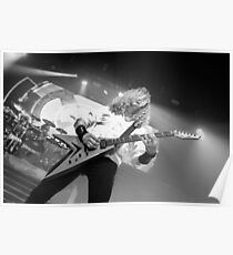 Megadeth's Dave Mustaine in action b/w Poster