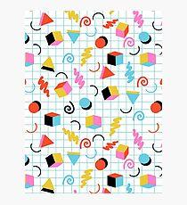 Clutch - retro minimal geometric memphis trendy pattern gifts 80s style 1980's vibes Photographic Print