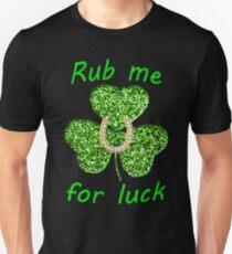 Funny Green Glitter Shamrock With A Horseshoe T-Shirt