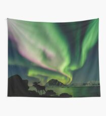 Moose with Northern Lights Wall Tapestry