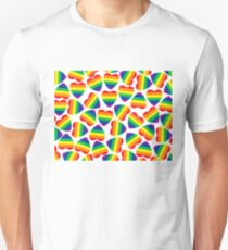 Hearts forms with gay pride flag inside on white . T-Shirt