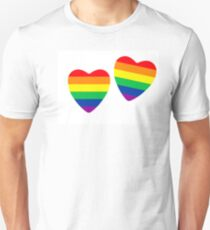 Two hearts made from gay pride flag on white. T-Shirt