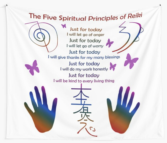 The 5 Principles Of Reiki Wall Tapestries By Frankey Craig Redbubble
