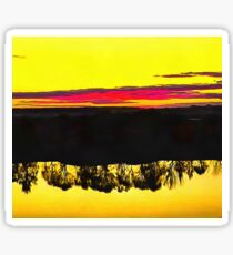 Sunset and the reflection of the trees in the river. Ultra-realistic photo-painting Sticker
