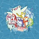 Shark Friends by bytesizetreas