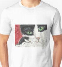 Black and white cat Mother  kitten  watercolor painting T-Shirt