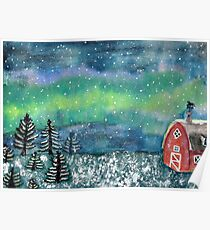 Winter Scene Watercolor Painting Poster
