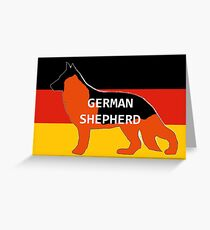 GS black and red name silhouette on flag Greeting Card