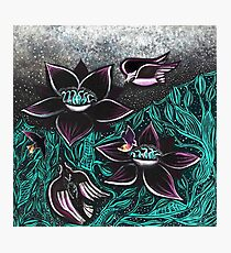 Black, Purple, and Turquoise Birds and Flowers Nature Painting  Photographic Print