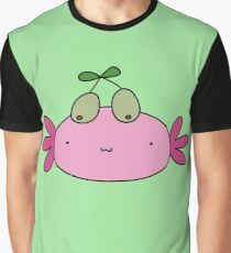 Olive Axolotl Face Graphic T-Shirt