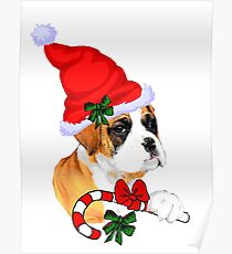 Boxer with Santa Hat Christmas Gifts Poster