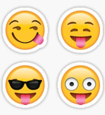 Tongues Out Secret Emoji 4-Pack | funny internet meme Sticker