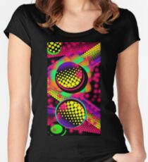 Shocking Pink: Neon vibrant abstract circle graffiti patterns  Women's Fitted Scoop T-Shirt