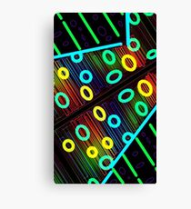 Shocking Glowing Blue and Green loops prism grid neon spectrum Canvas Print