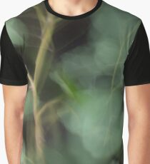 Fleur Blur-Abstract Eucalyptus Leaves on Black Background Graphic T-Shirt