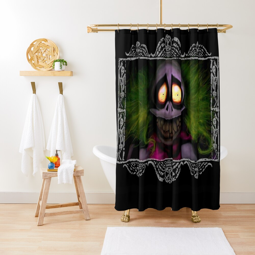 Beetlejuice with border Shower Curtain