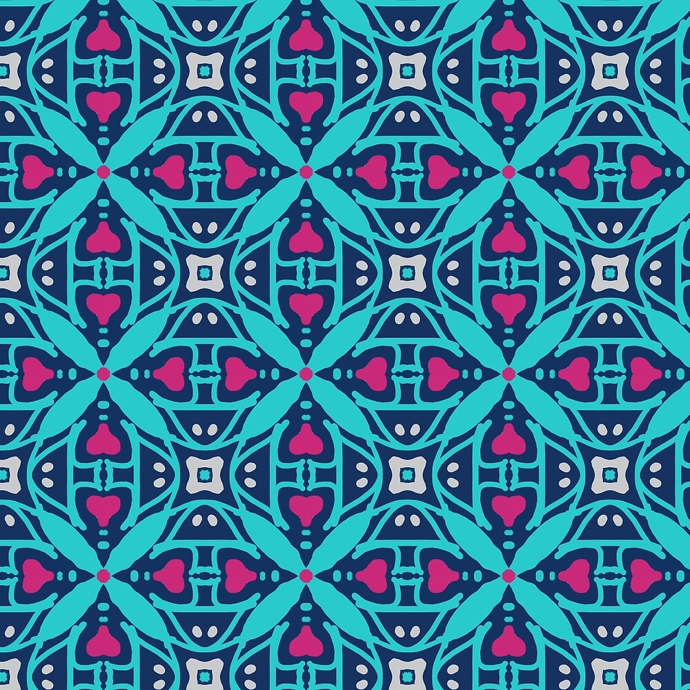Heart Pattern in Blues by Patrice Anderson