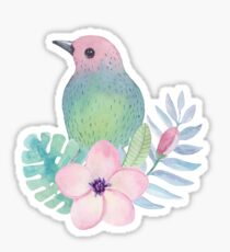 Watercolor Bird Sitting on Pink Flower and Leaves Sticker