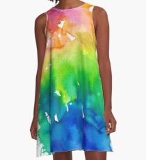 Rainbow Watercolor Paint Splash Art A-Line Dress