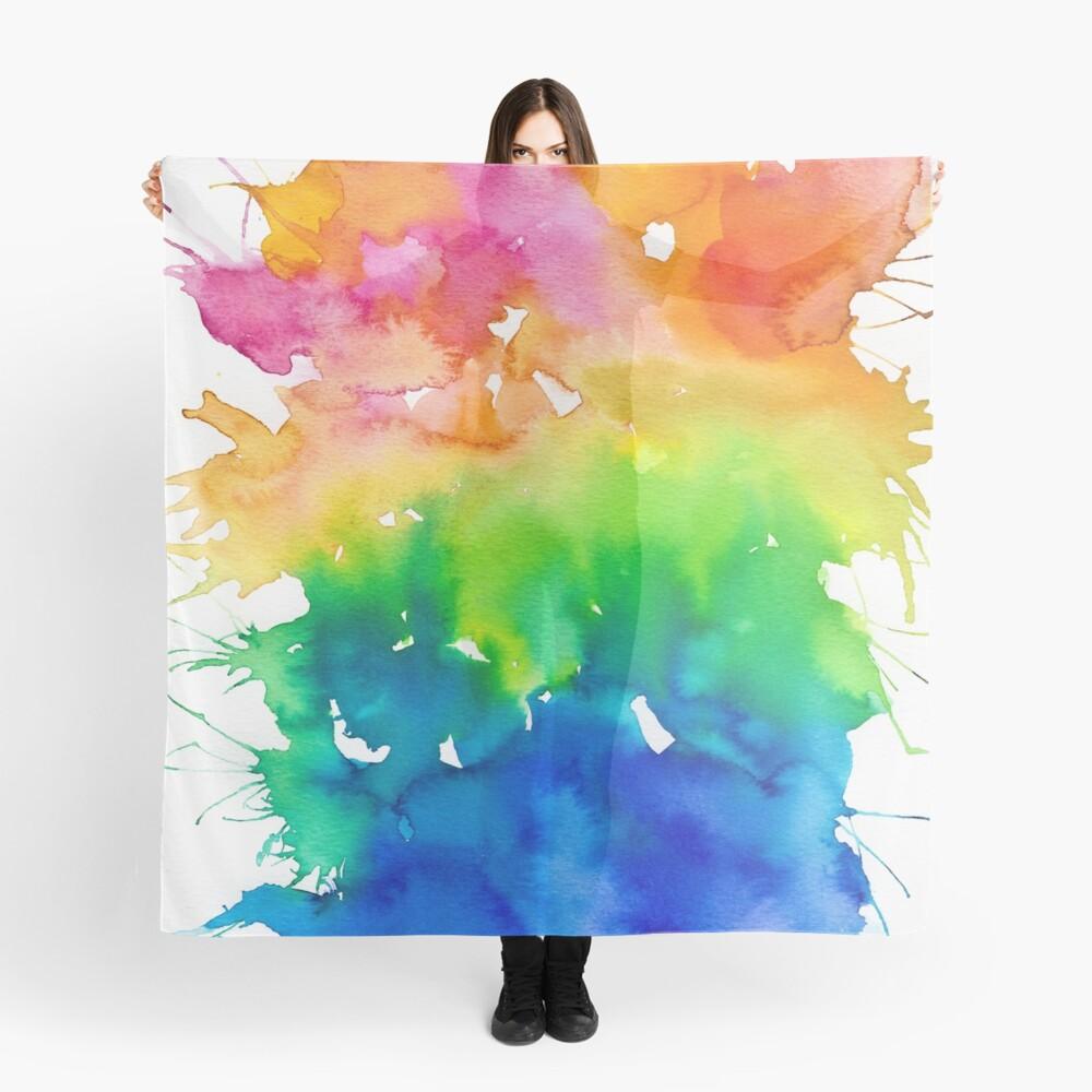 Rainbow Watercolor Paint Splash Art Scarf