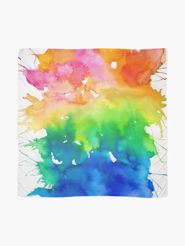 Alternate view of Rainbow Watercolor Paint Splash Art Scarf