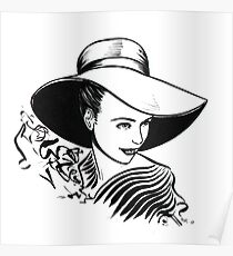 Lady with a Big Hat. Poster