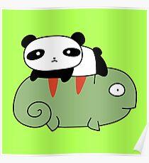 Póster Pequeño panda y camaleón