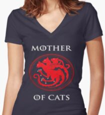 MOTHER OF CATS-GAME OF THRONES Women's Fitted V-Neck T-Shirt