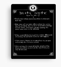 Death Note Rules Canvas Print