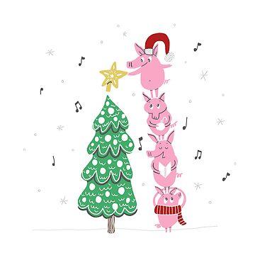 Stack of Pigs - Christmas  by pigandpumpkin