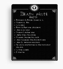 Death Note Facts Canvas Print
