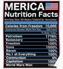 Merica Nutrition Facts American Dream Patriotism Poster