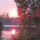 Smoky Sunset on Granite Lake, Sask, Canada by MaeBelle