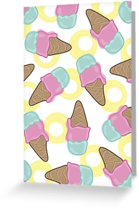 Retro Pink Strawberry And  Mint Ice-Cream Cones by fatfatin