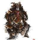 Samurai armor, japanese warrior old armor, samurai portrait, japanese ilustration art print by Mariusz Szmerdt