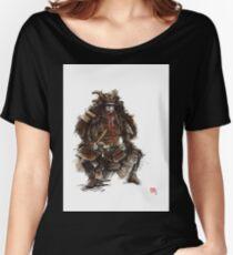 Samurai armor, japanese warrior old armor, samurai portrait, japanese ilustration art print Women's Relaxed Fit T-Shirt