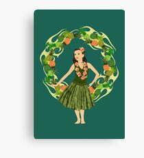 Hula Pineapple Wreath Canvas Print