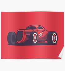 Vintage Hot Rod Classic Street Racer - Red Poster