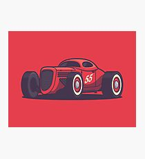 Vintage Hot Rod Classic Street Racer - Red Photographic Print