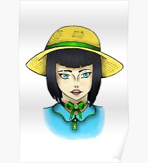 Girl With Sunhat Drawing Poster