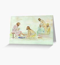 Jesus Washes the Apostles Feet Greeting Card