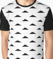 Space Mountain Pattern White Graphic T-Shirt