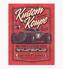 Vintage Style Fictional Halloween Hot Rod Show - Rough Red Photographic Print