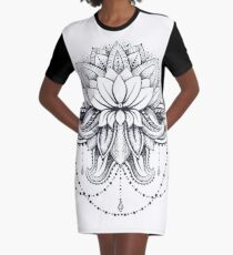 ornamental Lotus Graphic T-Shirt Dress