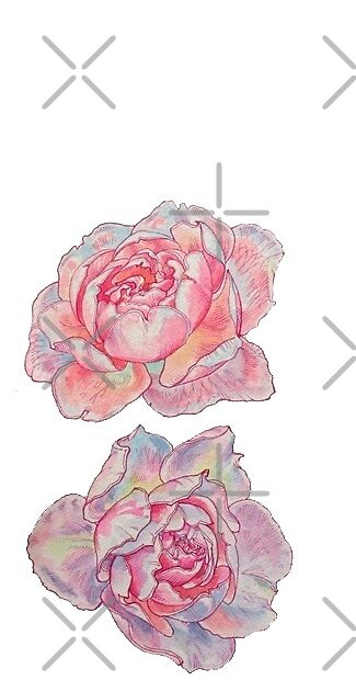 holographic pink flowers by stickersnstuff
