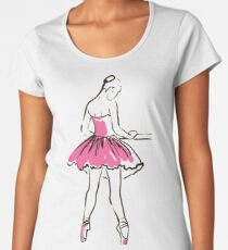 sketch of girl's ballerina  Women's Premium T-Shirt