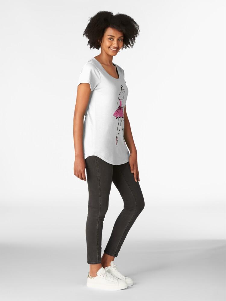 Alternative Ansicht von Skizze der Ballerina des Mädchens Premium Rundhals-Shirt