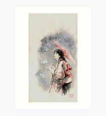 Geisha sign room decoration, japanese woman wall print, geisha figurine large poster Art Print