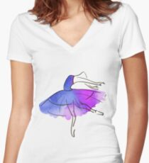 ballerina figure, watercolor Fitted V-Neck T-Shirt